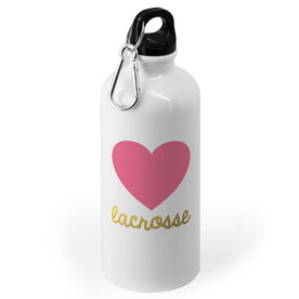 Girls Lacrosse 20 oz. Stainless Steel Water Bottle - Heart with Gold Lacrosse