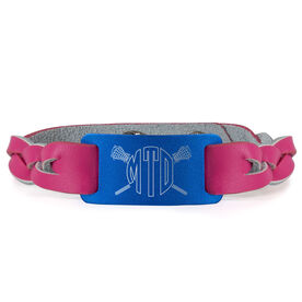 Girls Lacrosse Leather Bracelet with Engraved Plate - Monogram with Crossed Sticks