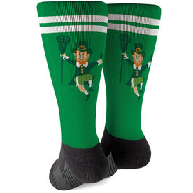 Girls Lacrosse Printed Mid-Calf Socks - Lucky Lax Leprechaun