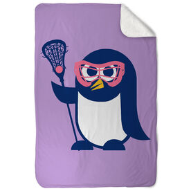 Girls Lacrosse Sherpa Fleece Blanket - Lax Penguin