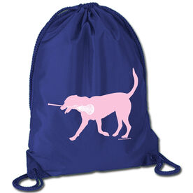 Girls Lacrosse Sport Pack Cinch Sack LuLa the Lax Dog (Pink)