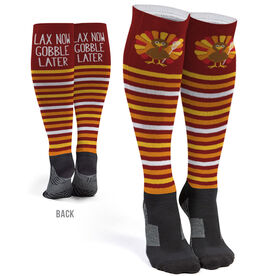 Girls Lacrosse Printed Knee-High Socks - Lax Now Gobble Later