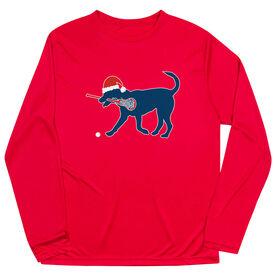 Girls Lacrosse Long Sleeve Performance Tee - Christmas Dog