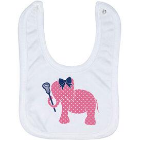Girls Lacrosse Baby Bib - Lax Elephant with Bow