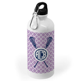 Girls Lacrosse 20 oz. Stainless Steel Water Bottle - Personalized Monogram Lacrosse Sticks With Quatrefoil Pattern