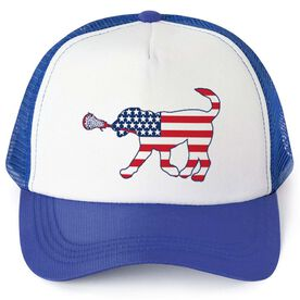 Girls Lacrosse Trucker Hat - Patriotic LuLa the Lax Dog
