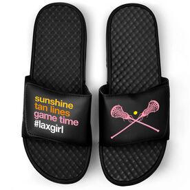 Girls Lacrosse Black Slide Sandals - Sunshine Tan Lines Game Time