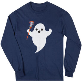 Girls Lacrosse Long Sleeve T-Shirt - Ghost with Lacrosse Stick