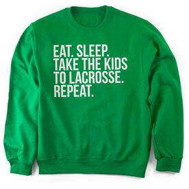 Lacrosse Crew Neck Sweatshirt - Eat Sleep Take The Kids To Lacrosse