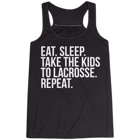 Lacrosse Flowy Racerback Tank Top - Eat Sleep Take The Kids To Lacrosse