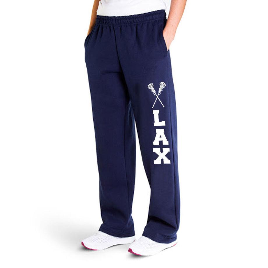 Girls Lacrosse Fleece Sweatpants - Lax With Crossed Sticks