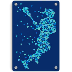 Girls Lacrosse Metal Wall Art Panel - Lax Girl Running Hearts