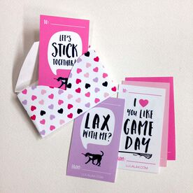 Girls Lacrosse Valentine's Day Cards