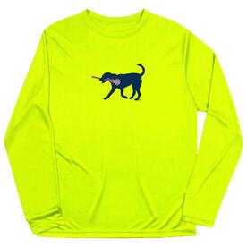 Girls Lacrosse Long Sleeve Performance Tee - LuLa the Lax Dog(Blue)