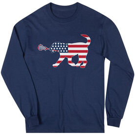 Girls Lacrosse Long Sleeve T-Shirt - Patriotic LuLa the Lax Dog