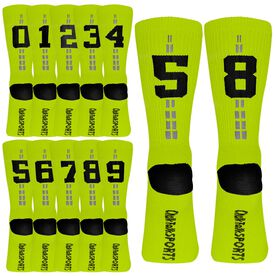 Team Number Woven Mid-Calf Socks - Neon Yellow