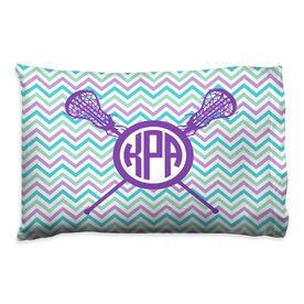 Girls Lacrosse Pillowcase - Personalized Monogram with Crossed Sticks and Chevron Pattern