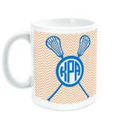 Girls Lacrosse Coffee Mug Personalized Monogram with Crossed Sticks and Chevron Pattern