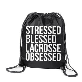 Lacrosse Sport Pack Cinch Sack - Stressed Blessed Lacrosse Obsessed
