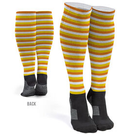 Printed Knee-High Socks - Autumn Stripes