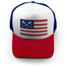 Girls Lacrosse Trucker Hat - American Flag Words