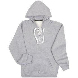 """Girls Lacrosse Sport Lace Sweatshirt - """"Lax"""" Girl (Stick Figure-w/word)"""