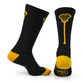 Lacrosse Woven Mid-Calf Socks - Single Stick (Black/Gold)