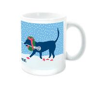 Girls Lacrosse Coffee Mug LuLa the Christmas Lax Dog