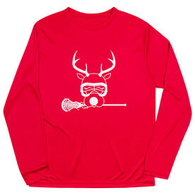 Girls Lacrosse Long Sleeve Performance Tee - Lax Girl Reindeer