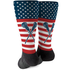 Girls Lacrosse Printed Mid-Calf Socks - USA Stars and Stripes