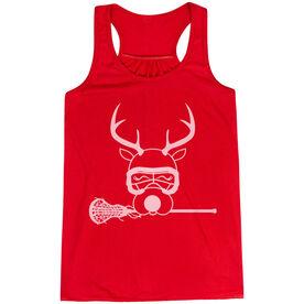 Girls Lacrosse Flowy Racerback Tank Top - Lax Girl Reindeer