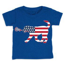 Girls Lacrosse Toddler Short Sleeve Tee - Patriotic Lula the Lax Dog