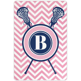"Girls Lacrosse 18"" X 12"" Aluminum Room Sign Single Letter Monogram with Crossed Sticks and Chevron"