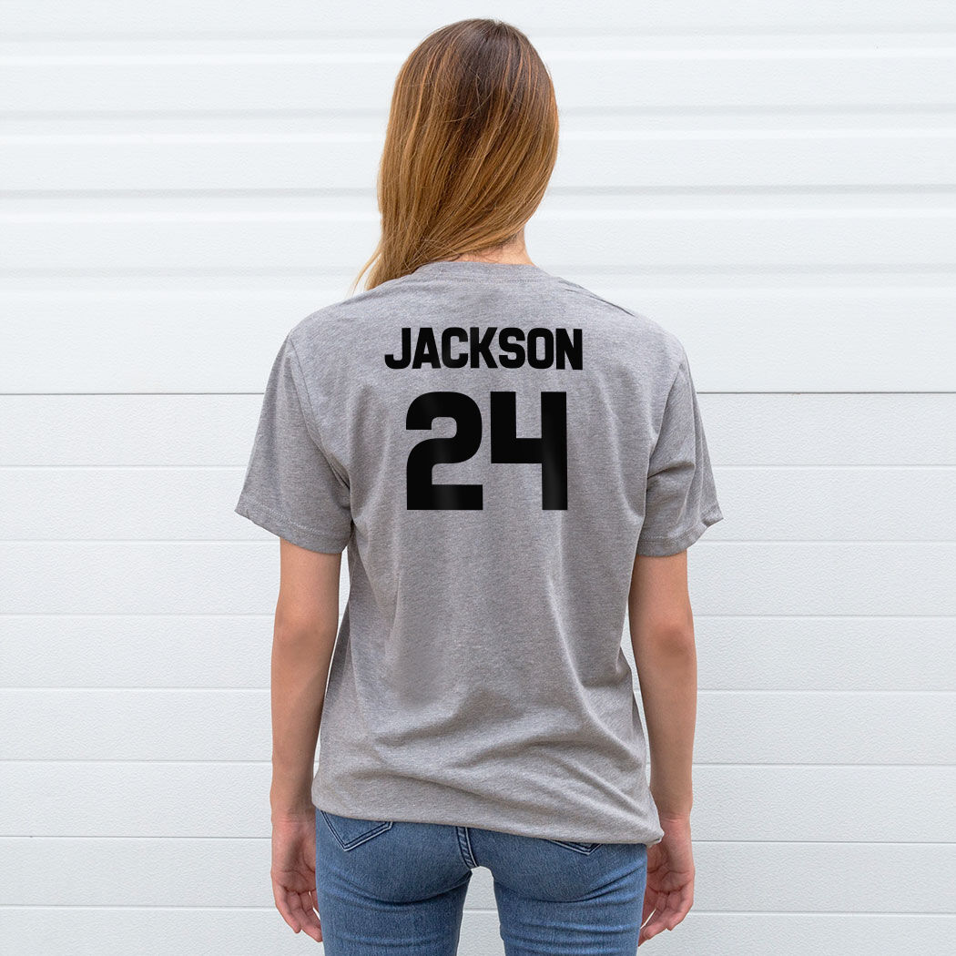 personalized lacrosse player shirt name and number i love lacrosse