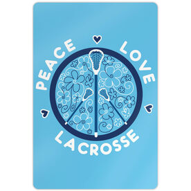"Girls Lacrosse 18"" X 12"" Aluminum Room Sign Peace Love Lacrosse Flowers"