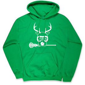 Girls Lacrosse Hooded Sweatshirt - Lax Girl Reindeer