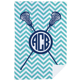 Girls Lacrosse Premium Blanket - Monogram with Crossed Sticks and Chevron