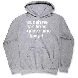 Girls Lacrosse Hooded Sweatshirt - Sunshine Tan Lines Game Time