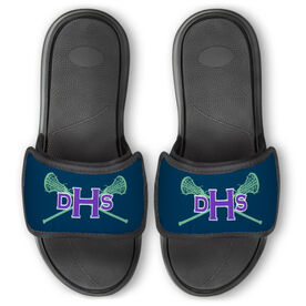 Girls Lacrosse Repwell™ Slide Sandals - Monogram with Lax Sticks