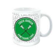 Girls Lacrosse Coffee Mug Personalized Coach Word Pattern with Girl Sticks
