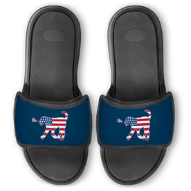 Girls Lacrosse Repwell® Slide Sandals - Patriotic Lula the Lax Dog