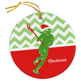 Girls Lacrosse Porcelain Ornament Lax Girl with Santa Hat