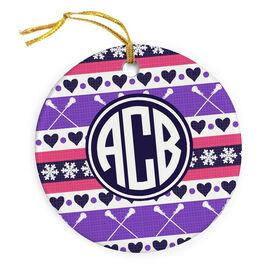 Girls Lacrosse Porcelain Ornament Monogrammed Christmas Sweater