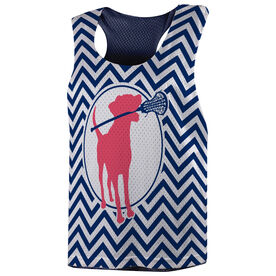 Girls Lacrosse Racerback Pinnie - Lacrosse Dog with Girl Stick and Chevron
