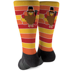 Girls Lacrosse Printed Mid-Calf Socks - Turkey with Stripes