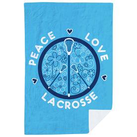 Girls Lacrosse Premium Blanket - Peace Love Lacrosse Flowers