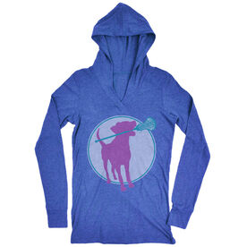 Women's Lacrosse Lightweight Performance Hoodie Lacrosse Dog with Girl Stick