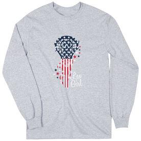 Girls Lacrosse Long Sleeve T-Shirt - Patriotic Lax Girl