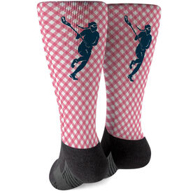 Girls Lacrosse Printed Mid-Calf Socks - Gingham Lacrosse Female Silhouette