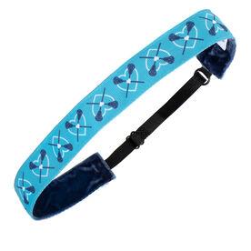 Girls Lacrosse Juliband Non-Slip Headband - Lacrosse Hearts - Blue